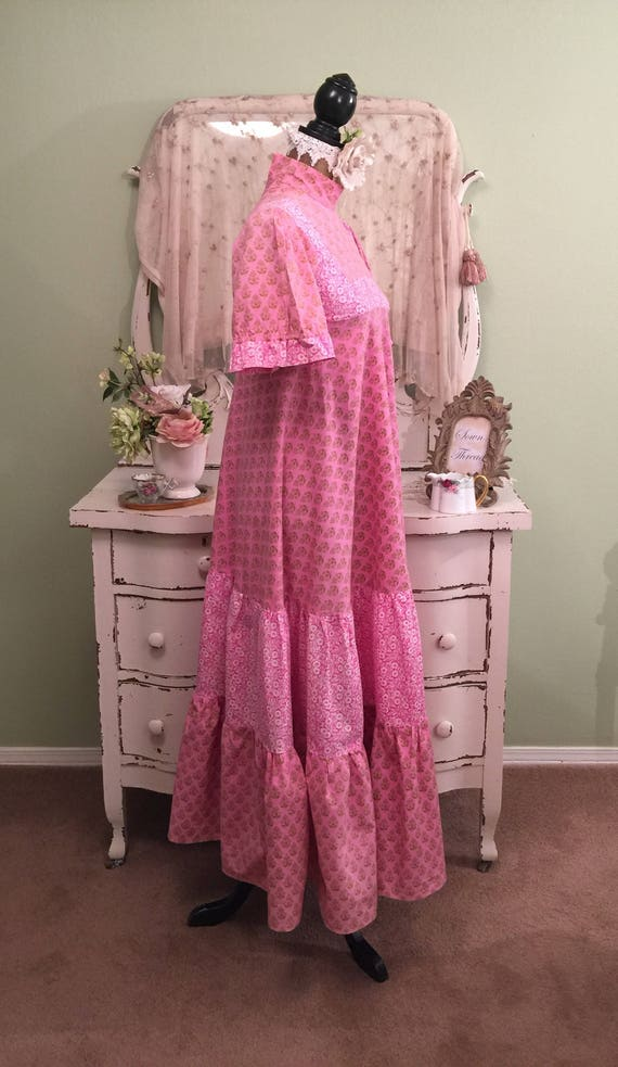 in 70s designer XS Hippy Vintage XXS Rare 1970s Laura PINK Dress Gown Ashley Wales Long made Bohemian Vintage Print tqwFz0n