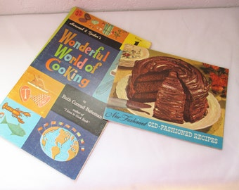 Lot of two cooking brochures and cook book -  1953 Old Fashioned Recipes and 1960's Wonderful World of Cooking - California Chef's estate!