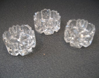 Vintage Glass Salt & Pepper Individual Cellars, Set of Three