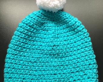 Super Slouchy Light Blue Crochet Hat