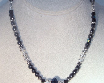 Swarovksi Crystal and Gemstone Necklace - Black AB Crystal & Hematite