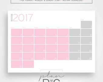 2017 - 2018 Wall calendar, Wall planner, Pink and gray, Geometric wall calendar, Digital download, Desk calendar, Desk planner, minimal