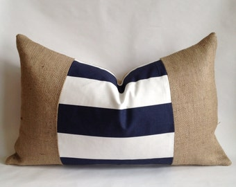 Navy and White Horizontal Stripe Fabric and Burlap Pillow Cover