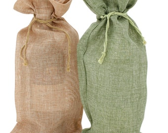 Burlap Wine Bags Set of 10