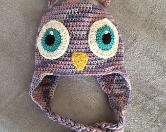 Crochet Child Owl Earflaps Hat