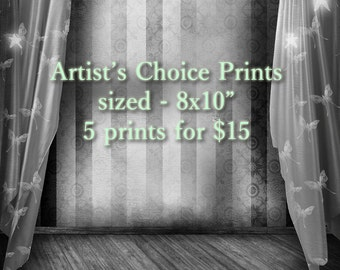 Artist's choice of prints - FIVE 8x10 prints for FIFTEEN dollars! Five prints of my choosing, mystery selection grab bag random style choice