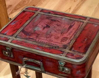 SOLD Accepting Custom Orders Vintage Suitcase Nightstand End Table Boho  Gypsy Red Vintage Rustic Distressed Unique One Of A Kind