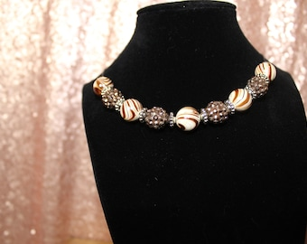 Brown Swirl Beaded Necklace