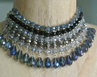 Beaded Choker, Stunning Design, Eclectic Boho Hippy Choker,Blue Black and Gray Crystals,Silver Choker,Unique One of a Kind By UPcycled Works