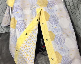 Baby Blue and Yellow Car Seat Cover, Car Seat Canopy, Baby Blue Nursery Elephant Cotton Fabric, Car Seat, Baby Shower Gift - READY TO SHIP