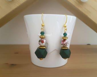Dark green faceted wood bead dangle earrings