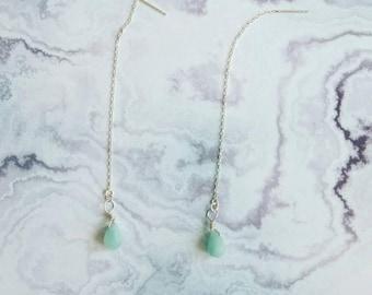 Earrings in 925 sterling silver with 2 briolettes earrings aventurine/jewelry/earrings / jewelry Zelina