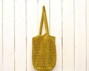 Crochet Bag Pattern Market Tote Shopping Bag Pattern PDF Download Open Weave Cotton DIY