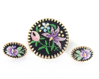 Vintage Petit Point Pin and Earring Set Needlepoint Jewelry for Spring