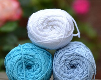 Kacenka - soft cotton/acrylic yarn for crochet and knitting, Mix of the colors, 1 ball/50 g, Producer NCT