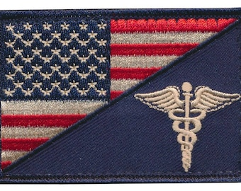 "Tactical USA Flag / EMT ""Caduceus"" Embroidered Patch"