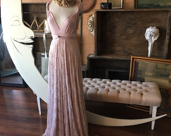 Sahara Rose Gold with Blush Lace- Vintage Style Octopus Infinity Wrap Dress- Pale Dogwood Wedding Gown, Bridesmaids, Maternity, Etc.