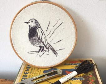"""Hand Embroidered Bird; from my Flora & Fauna Series - 6"""" hoop FREE UK SHIPPING"""