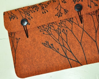 Laptop sleeve orange vegan felt, Macbook case Pro / Air 13 inch - elegant cover with Wild Plant Pattern, original Silkscreen Print