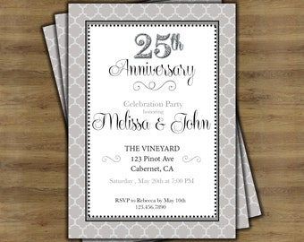 Silver invitations instant download 25th anniversary 25th anniversary invitations 25th wedding anniversary invitations silver anniversary 25 year anniversary stopboris Choice Image