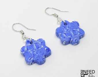 Flower earrings, murrine earrings, blue earrings, colored earrings, colored earrings, cold colors earrings, dangle earrings, fimo earrings