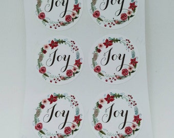 24 Joy Christmas Stickers - Joy, Xmas, Christmas - Envelope seals, gift tag, giftwrapping, card making