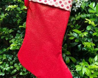 Beautiful Red Glitter Christmas Stocking