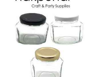 1 pc 3.75 oz Oval Hexagon Glass Jars