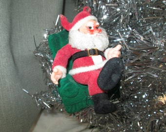 Vintage Christmas Flocked Santa Ornament Santa Clause St Nick St Nicholas Tree Trimming 1950s Hanging Ornament Mid Century
