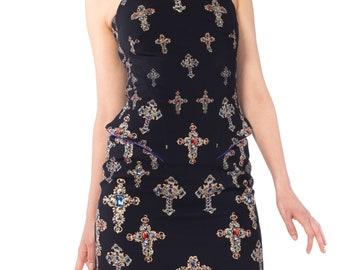 Versace Jeweled Cross Print Structured Peplum Minidress Size: