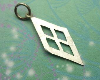 Vintage Sterling Silver Dangle Charm - Diamond