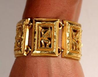 VTG 1950s Bronze Extra Large Bracelet Mid Century Bracelet French Bracelet High End Bracelet
