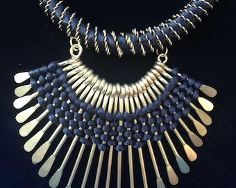Ethnic Statement Necklace- Black