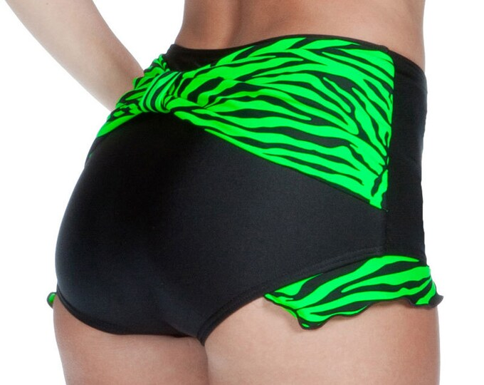 Shirley Bow Back with Ruffles Retro High Waisted Swim Bottom in Black with Neon Green Zebra Stripes