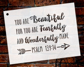You Are Beautiful - Psalm 139:14 - Word Stencil - Select Size - Stcl1776 - By Studior12