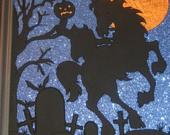 Hand Painted Halloween HEADLESS HORSEMAN on Glass - REVERSE PAiNTED - Dark Blue Glitter Paper - 9.5 x 11.5 Frame - Halloween Decor