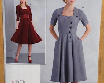 Retro Dress Simplicity Pattern D0545 / 8259. Misses size 8 - 16 0r 18 - 26