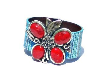 Multicolor Leather Bracelet with Red Turquoise or Yellow and Antique Silver Flower statement piece floral boho chic blue green pink black