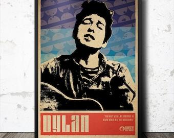 Bob Dylan Folk Music Art Poster