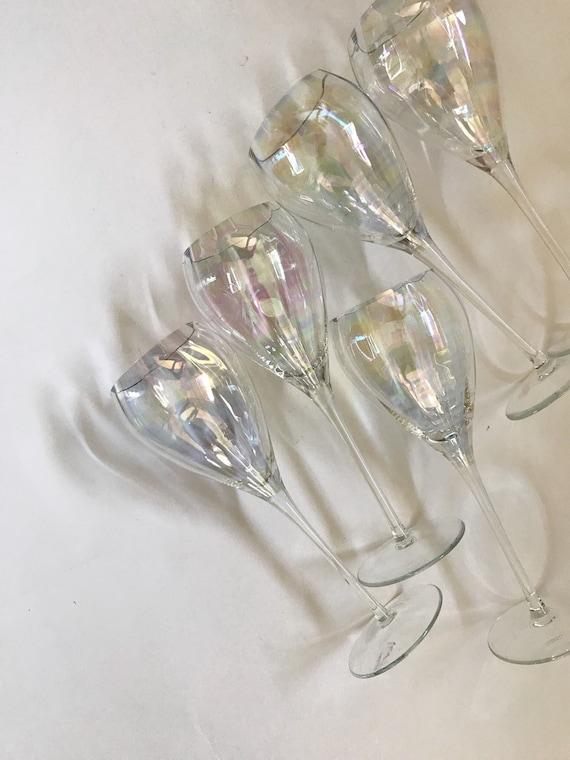 set of 5 tall iridescent stemware champagne glasses / barware