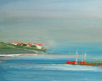 VILLAGE 3. Original Seascape Oil Painting, on panel.
