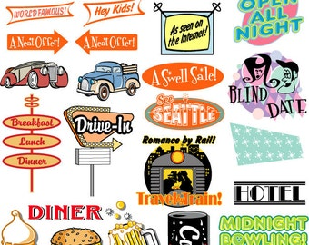 Fifties Clipart Clip Art - Commercial and Personal Use