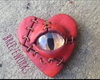 Red patchwork All-seeing heart Pendant