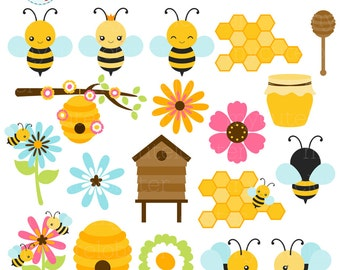 Bees Clipart Set - clip art set of bees, honey, beehive, cute bees, bumblebees, bee - personal use, small commercial use, instant download