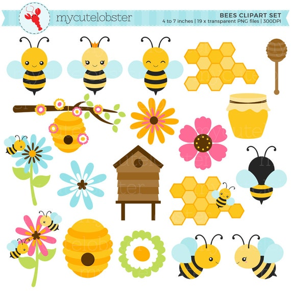 bees clipart set clip art set of bees honey beehive cute bees rh etsystudio com cute busy bee clipart funny bee clipart