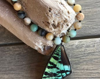 Sunset Moth Wing Necklace