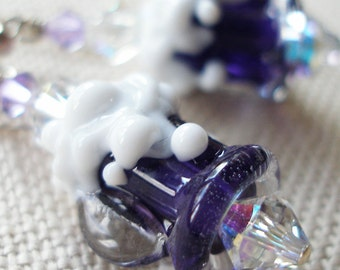Beer Mug Earrings, Indigo Violet, Steins, Lampwork Glass