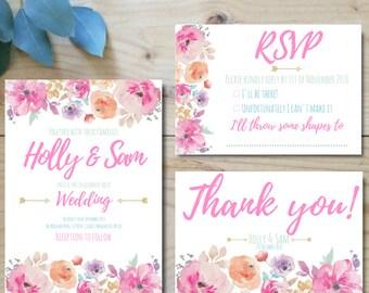 Custom Boho Wedding Stationery, Wedding invitation floral Printable wedding invites set Wedding invitations set printable Printable invite