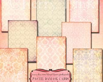 DAMASK collage sheet, digital paper vintage scrapbook 8 designs, supplies for scrapbooking collage digital download