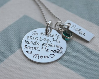Mother's Necklace - So There's This Boy - Hand Stamped Personalized Pendant - Grandma - Mother's Day - Grandparents Day - Mom to Boys